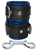 Leather Hand Cuffs Black-Blue
