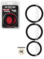 Push Monster - Black Rubber Cockring 3 Ring Set